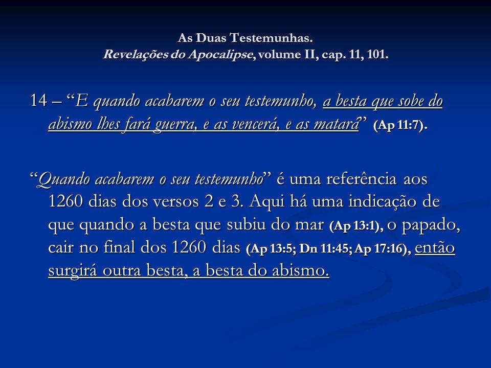 As Duas Testemunhas. Revelações do Apocalipse, volume II, cap. 11, 101.