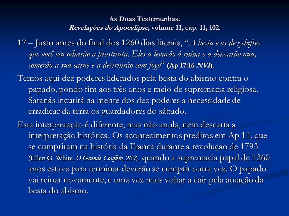 As Duas Testemunhas. Revelações do Apocalipse, volume II, cap. 11, 102.