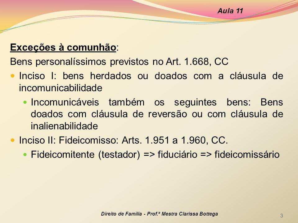 Bens personalíssimos previstos no Art. 1.668, CC
