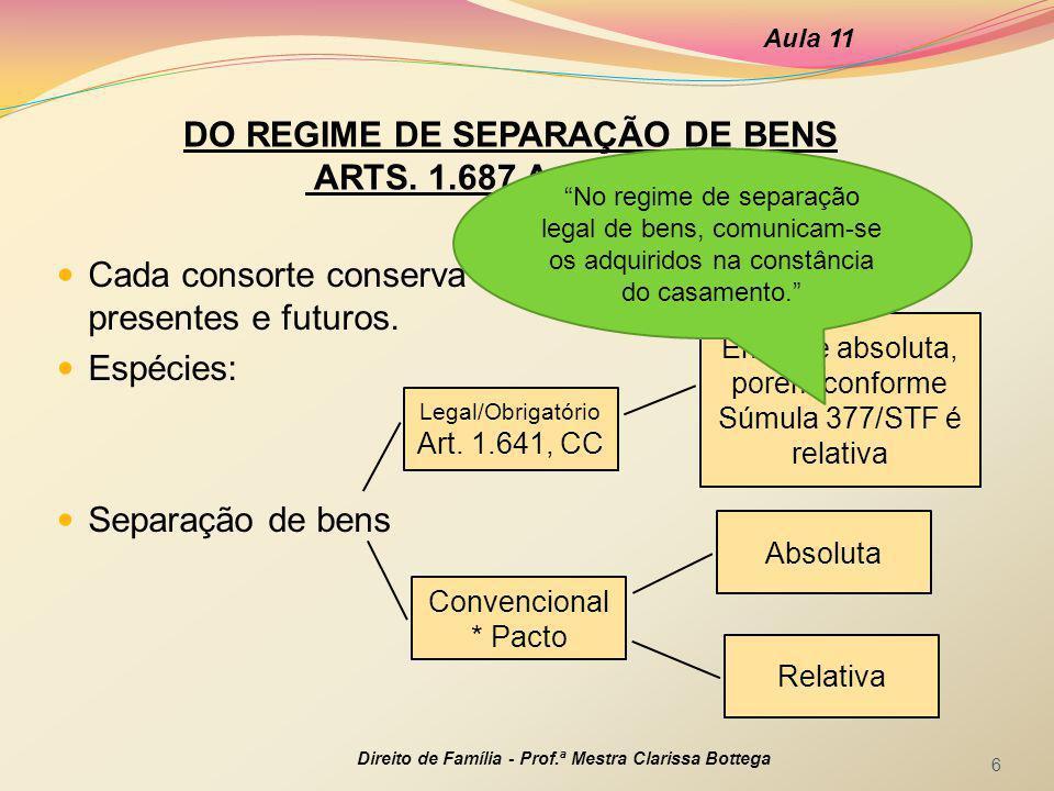 DO REGIME DE SEPARAÇÃO DE BENS