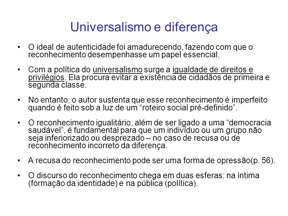 Universalismo e diferença