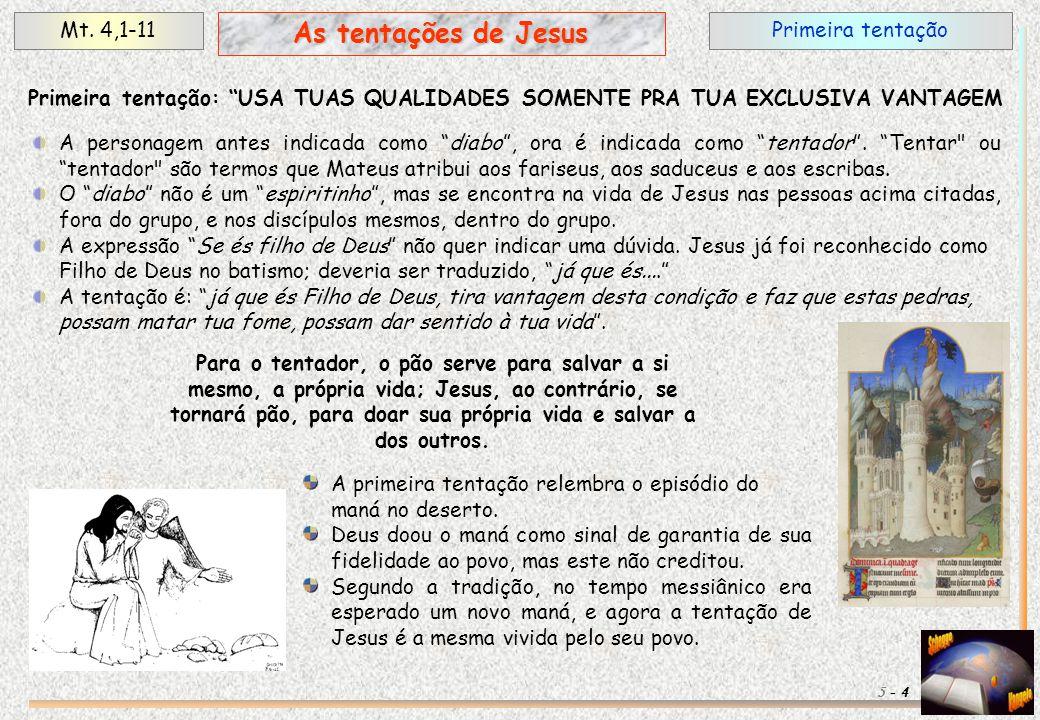 As tentações de Jesus Mt. 4,1-11 Primeira tentação