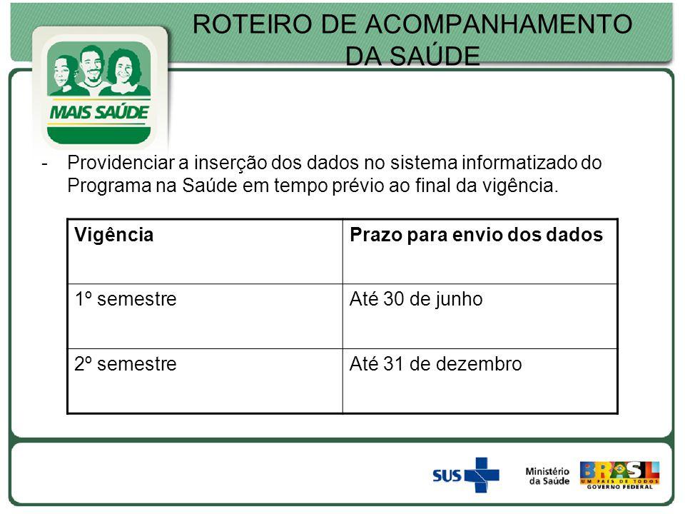 ROTEIRO DE ACOMPANHAMENTO DA SAÚDE