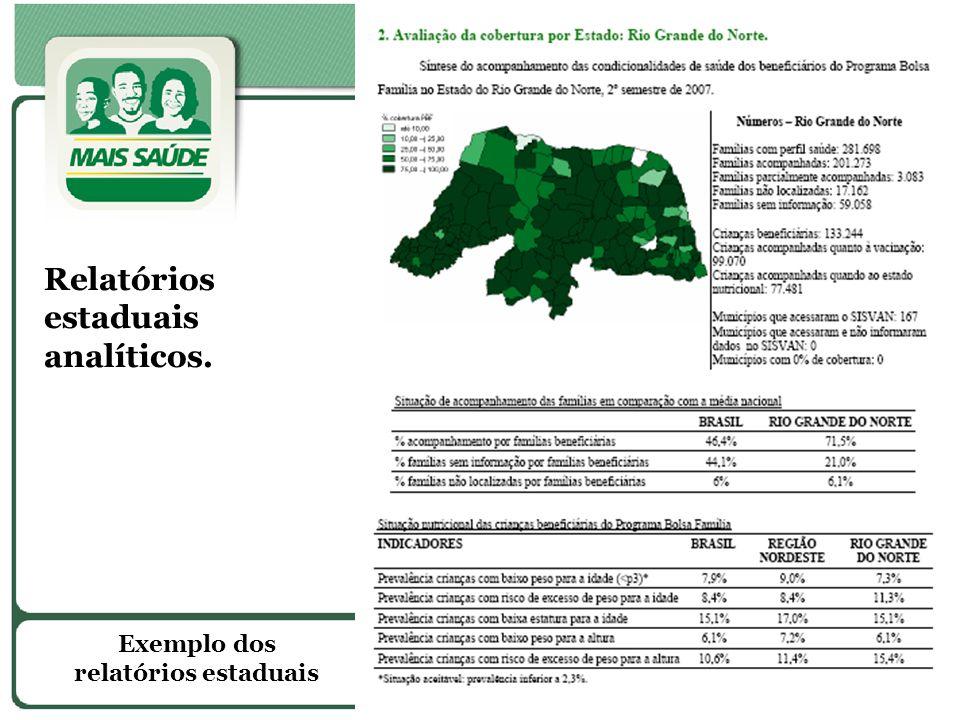 Exemplo dos relatórios estaduais