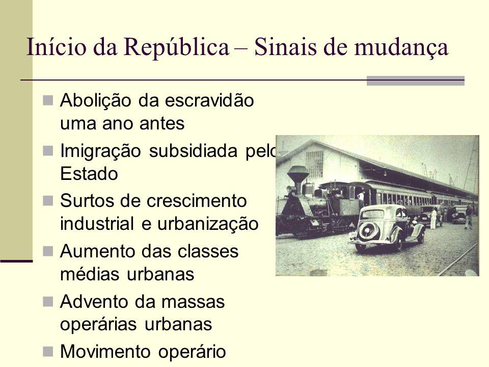 Início da República – Sinais de mudança