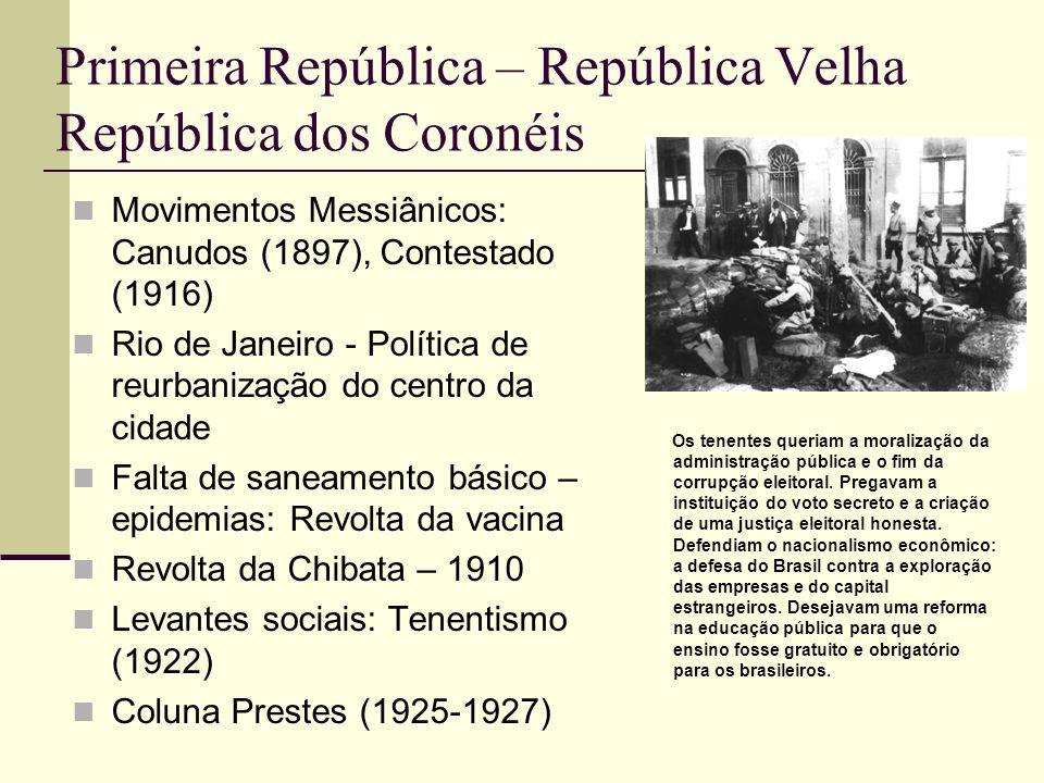 Primeira República – República Velha República dos Coronéis