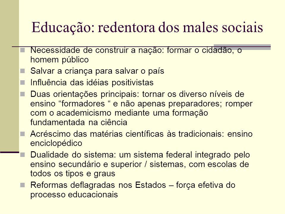 Educação: redentora dos males sociais