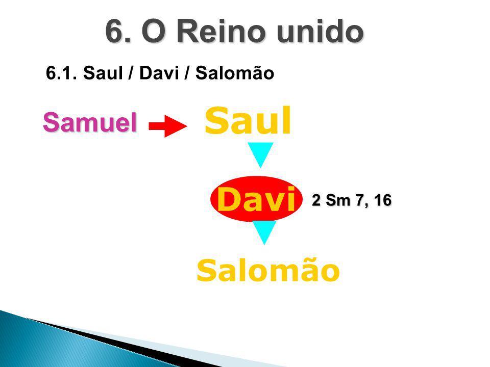 Saul 6. O Reino unido Davi Salomão Samuel 6.1. Saul / Davi / Salomão