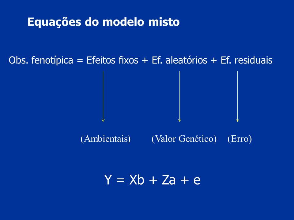 Y = Xb + Za + e Equações do modelo misto
