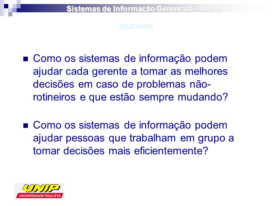 Sistemas de Informação Gerencial – Aula 11