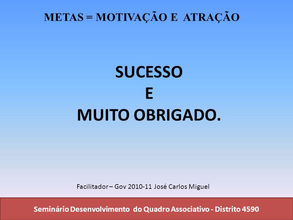 SUCESSO E MUITO OBRIGADO.