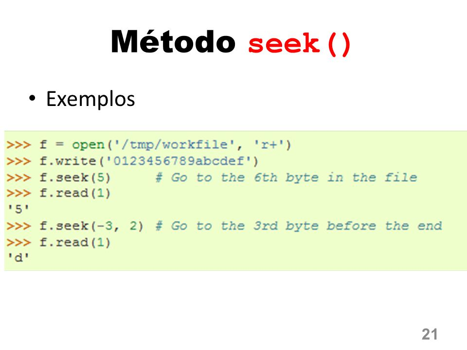 Método seek() Exemplos