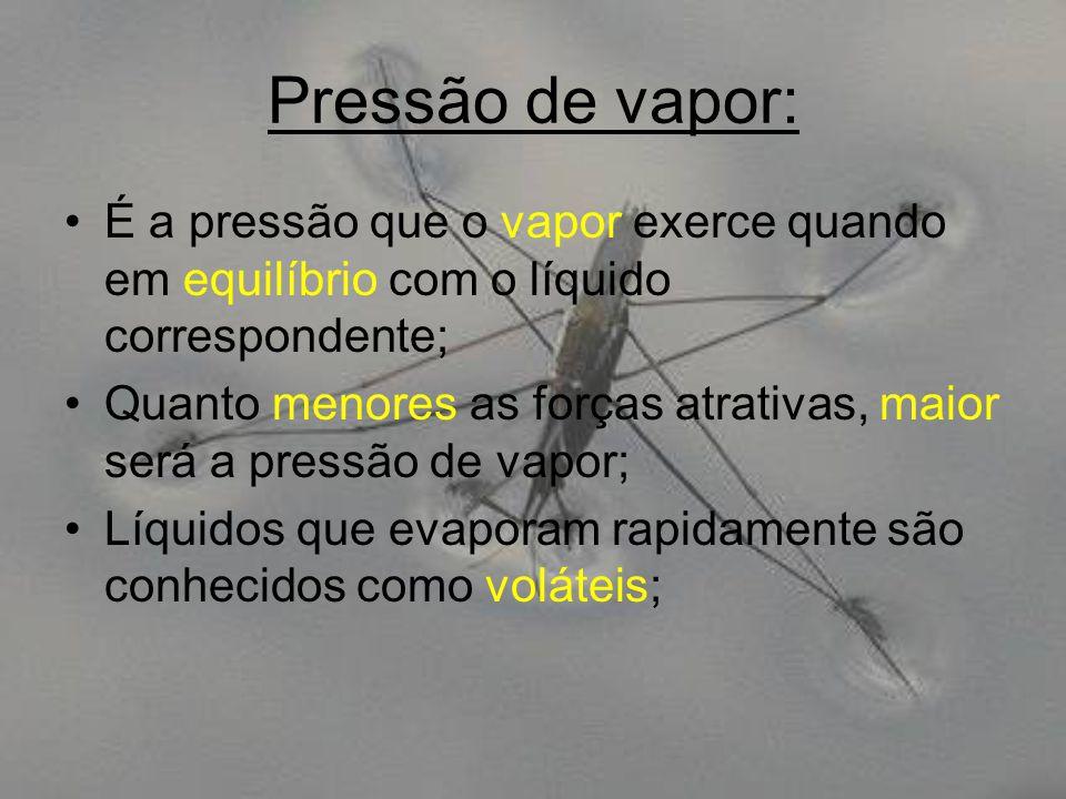 Pressão de vapor: É a pressão que o vapor exerce quando em equilíbrio com o líquido correspondente;