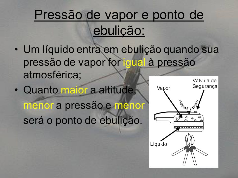Pressão de vapor e ponto de ebulição: