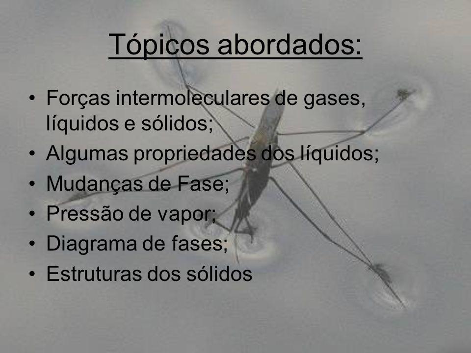 Tópicos abordados: Forças intermoleculares de gases, líquidos e sólidos; Algumas propriedades dos líquidos;
