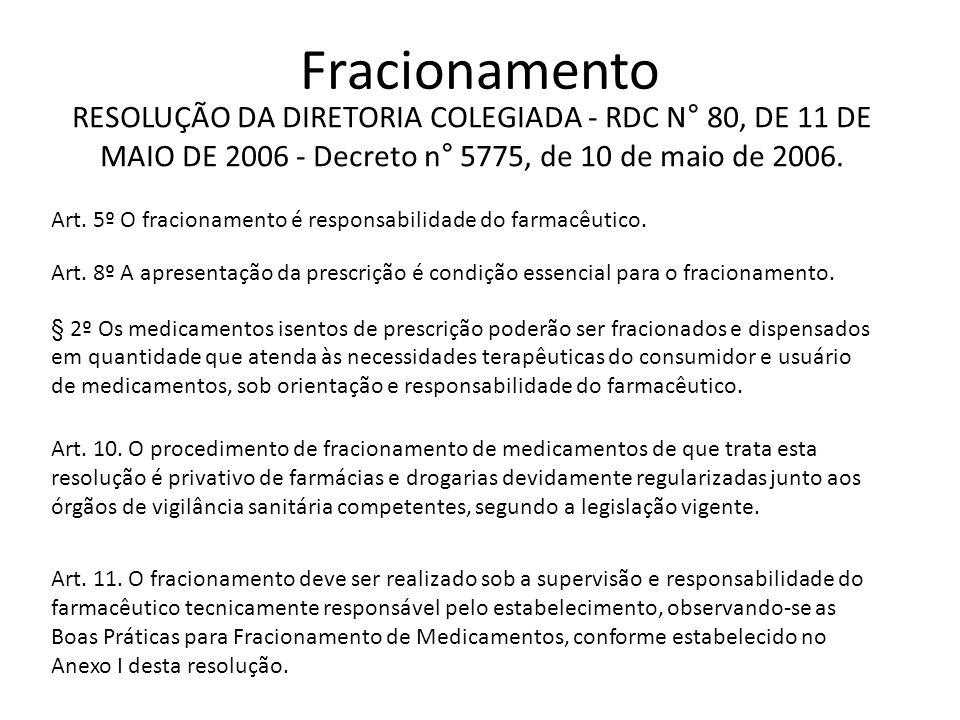 Fracionamento RESOLUÇÃO DA DIRETORIA COLEGIADA - RDC N° 80, DE 11 DE MAIO DE 2006 - Decreto n° 5775, de 10 de maio de 2006.