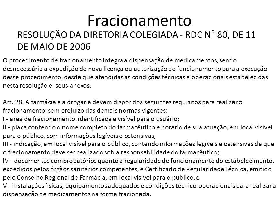Fracionamento RESOLUÇÃO DA DIRETORIA COLEGIADA - RDC N° 80, DE 11 DE MAIO DE 2006.