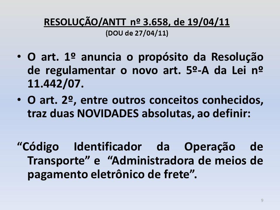 RESOLUÇÃO/ANTT nº 3.658, de 19/04/11 (DOU de 27/04/11)