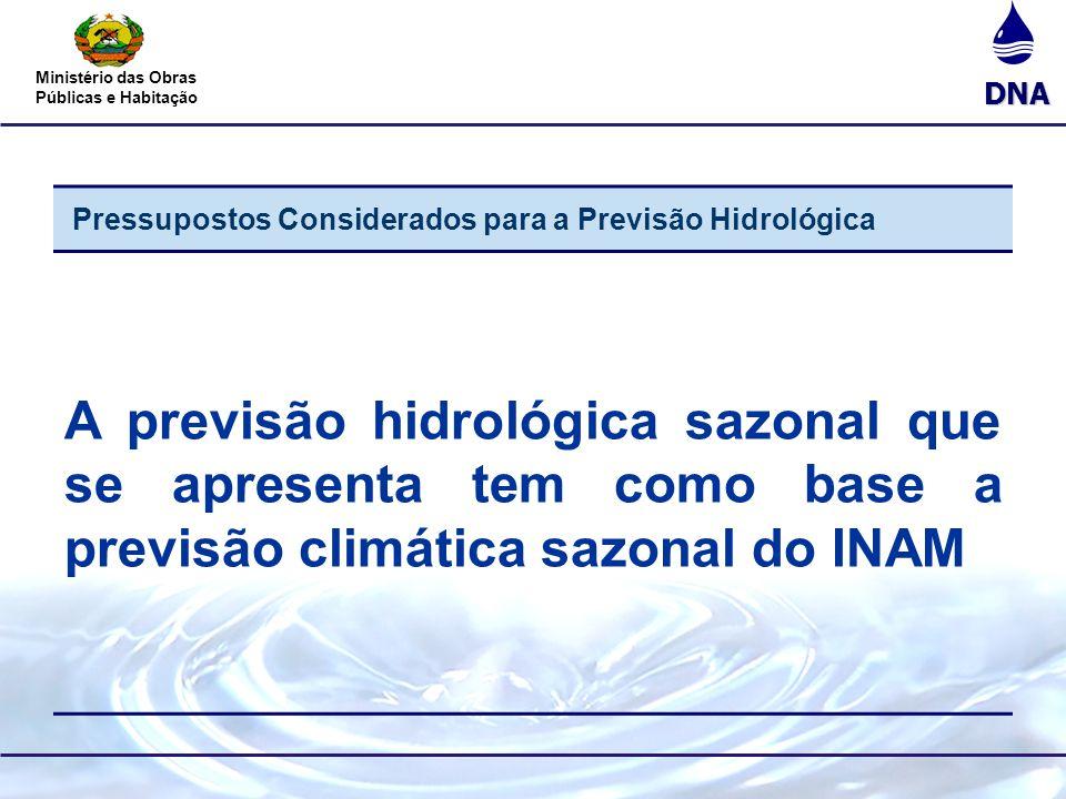 Pressupostos Considerados para a Previsão Hidrológica