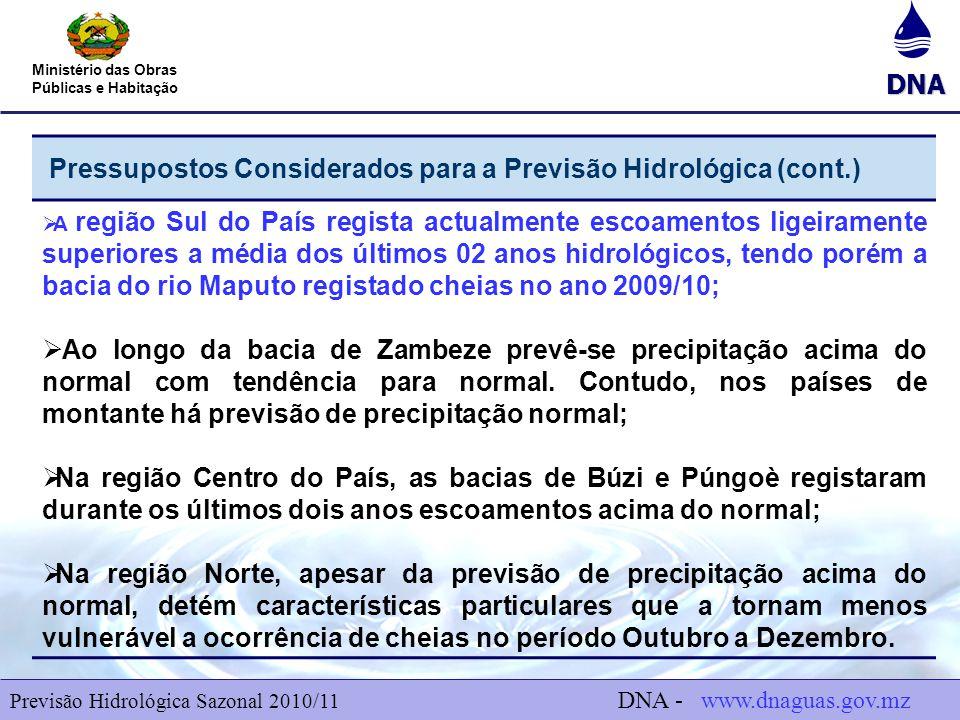 Pressupostos Considerados para a Previsão Hidrológica (cont.)