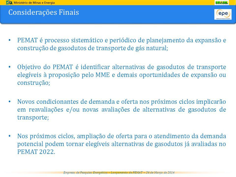 Considerações Finais PEMAT é processo sistemático e periódico de planejamento da expansão e construção de gasodutos de transporte de gás natural;