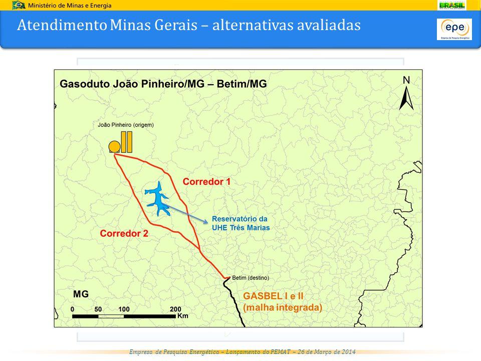 Atendimento Minas Gerais – alternativas avaliadas
