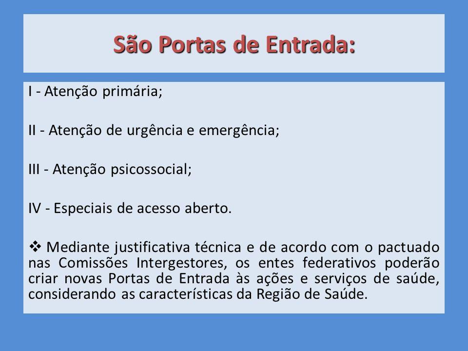 São Portas de Entrada: I - Atenção primária;