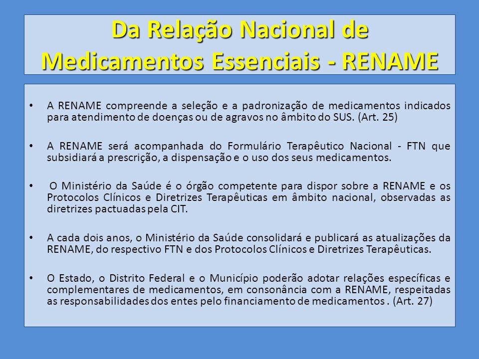 Da Relação Nacional de Medicamentos Essenciais - RENAME