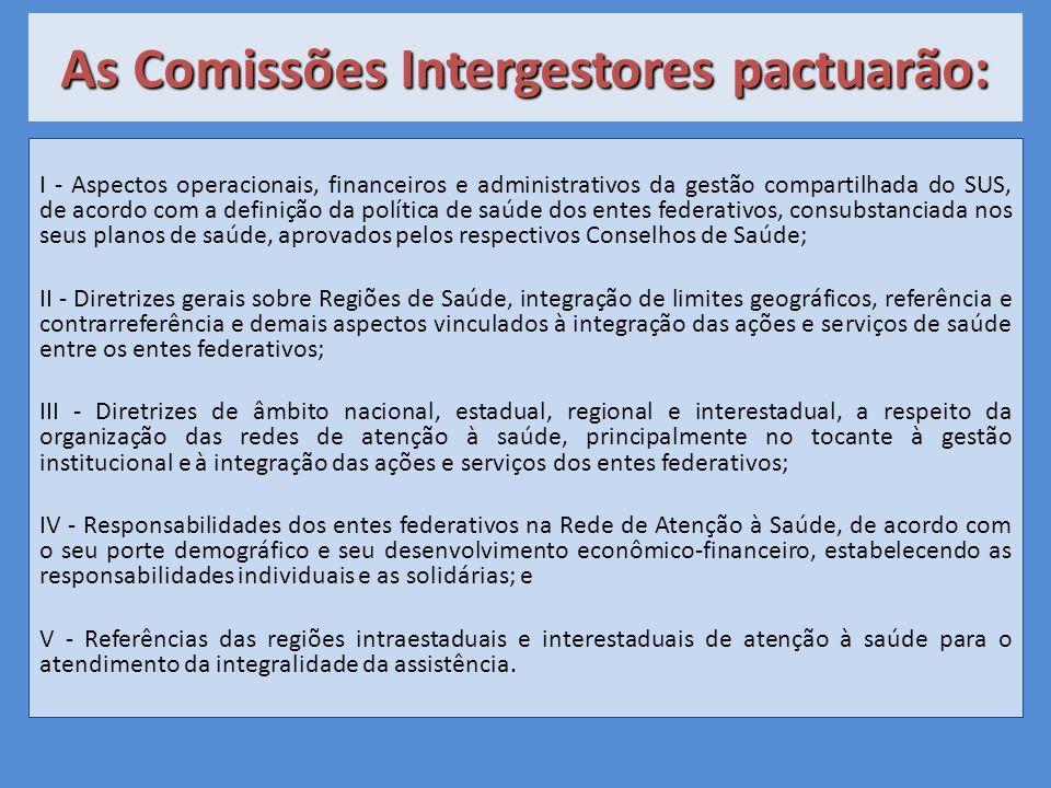 As Comissões Intergestores pactuarão: