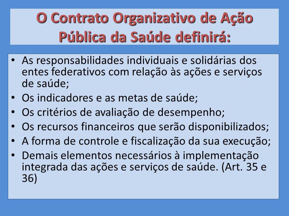 O Contrato Organizativo de Ação Pública da Saúde definirá:
