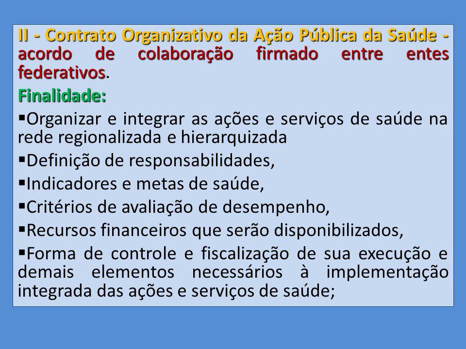 II - Contrato Organizativo da Ação Pública da Saúde - acordo de colaboração firmado entre entes federativos.