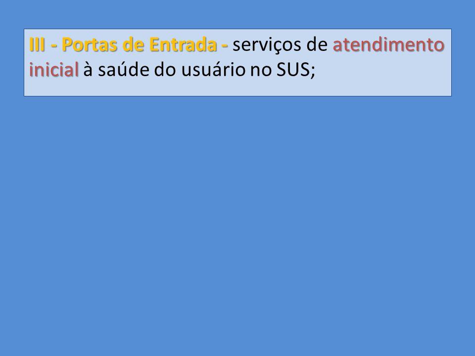 III - Portas de Entrada - serviços de atendimento inicial à saúde do usuário no SUS;