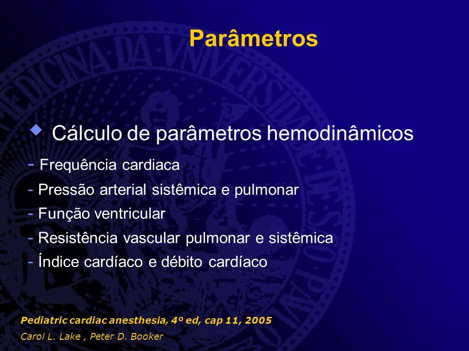 Cálculo de parâmetros hemodinâmicos