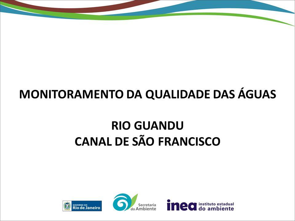 MONITORAMENTO DA QUALIDADE DAS ÁGUAS RIO GUANDU CANAL DE SÃO FRANCISCO