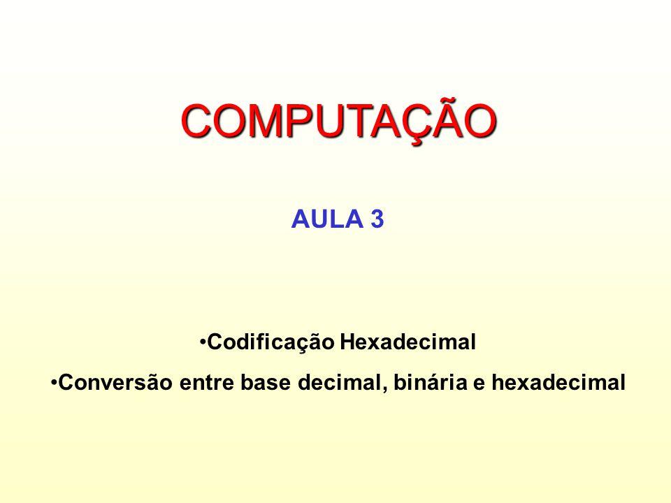 COMPUTAÇÃO AULA 3 Codificação Hexadecimal