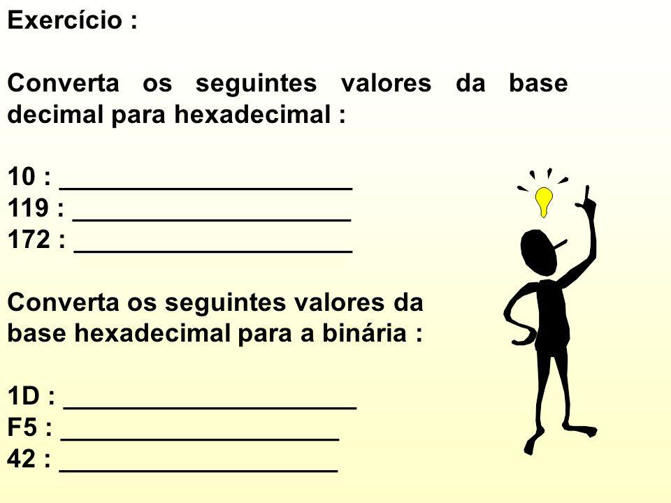 Converta os seguintes valores da base decimal para hexadecimal :