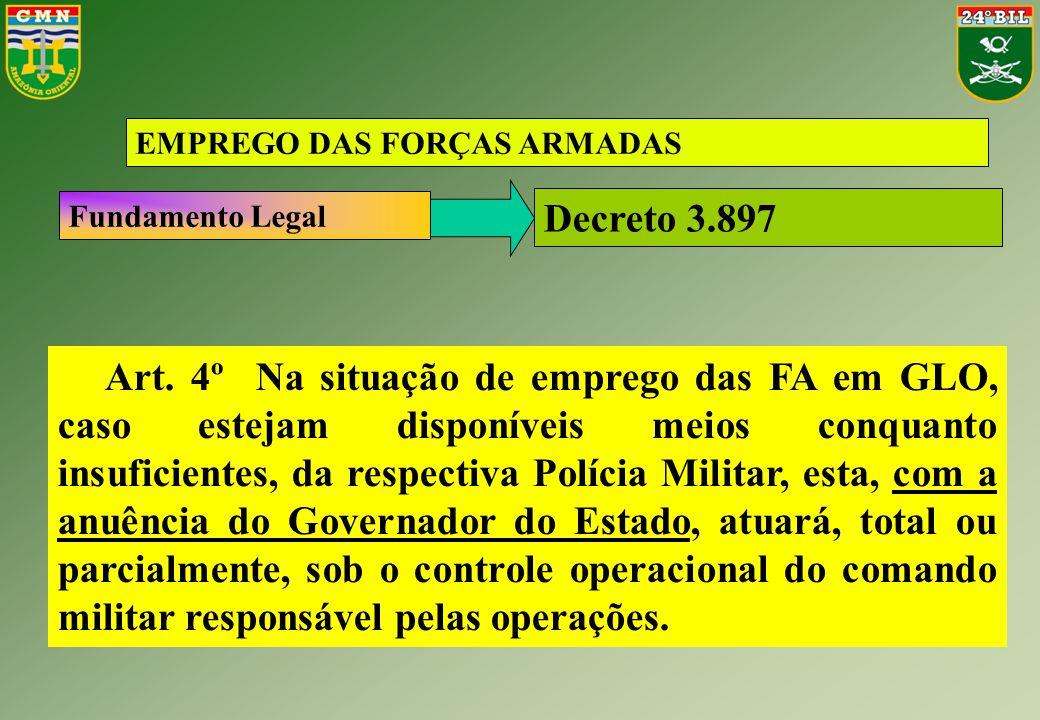 Decreto 3.897 EMPREGO DAS FORÇAS ARMADAS Fundamento Legal