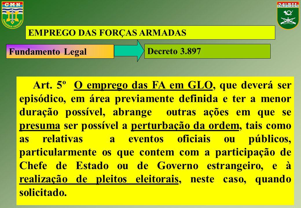 Fundamento Legal EMPREGO DAS FORÇAS ARMADAS Decreto 3.897