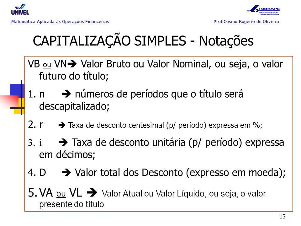 CAPITALIZAÇÃO SIMPLES - Notações