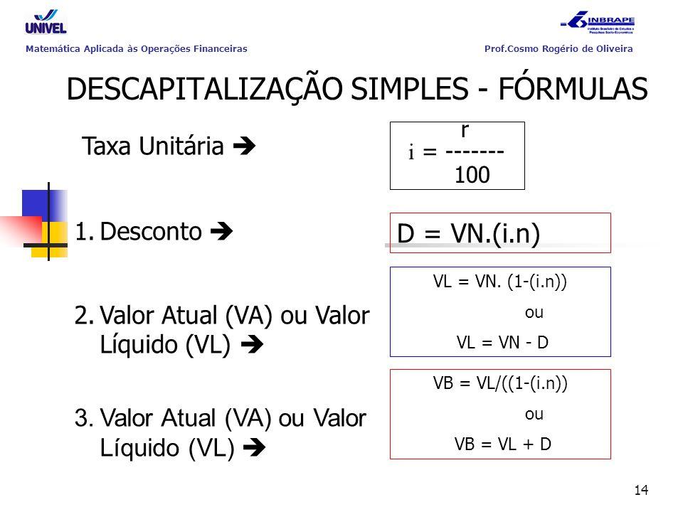 DESCAPITALIZAÇÃO SIMPLES - FÓRMULAS