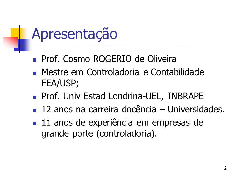 Apresentação Prof. Cosmo ROGERIO de Oliveira