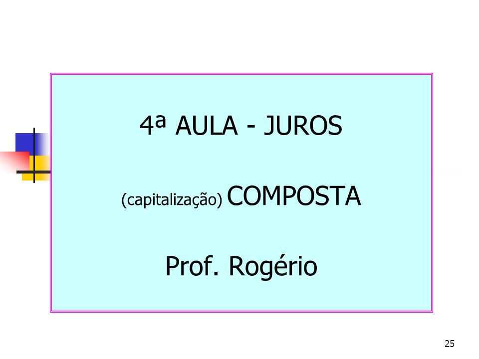 4ª AULA - JUROS (capitalização) COMPOSTA Prof. Rogério