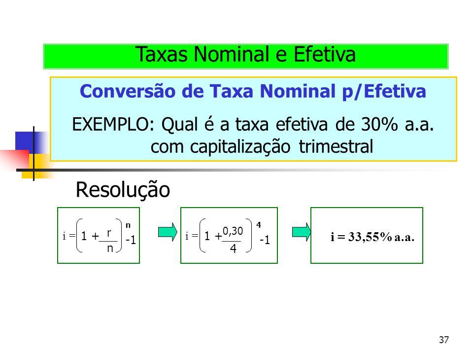 Conversão de Taxa Nominal p/Efetiva