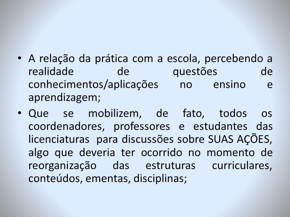 A relação da prática com a escola, percebendo a realidade de questões de conhecimentos/aplicações no ensino e aprendizagem;