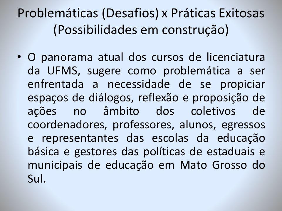 Problemáticas (Desafios) x Práticas Exitosas (Possibilidades em construção)