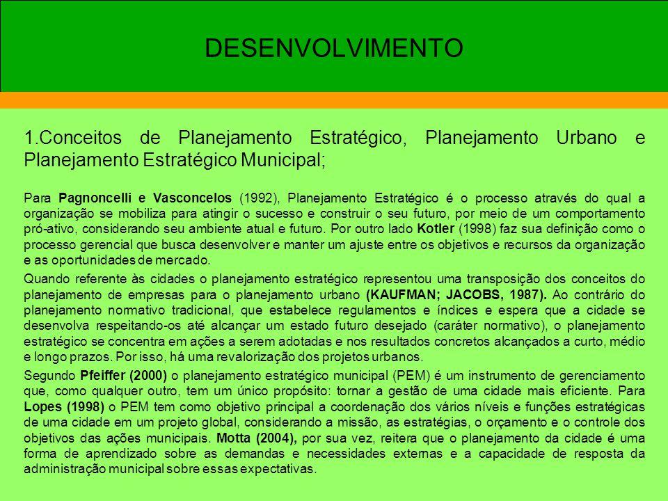 DESENVOLVIMENTO 1.Conceitos de Planejamento Estratégico, Planejamento Urbano e Planejamento Estratégico Municipal;