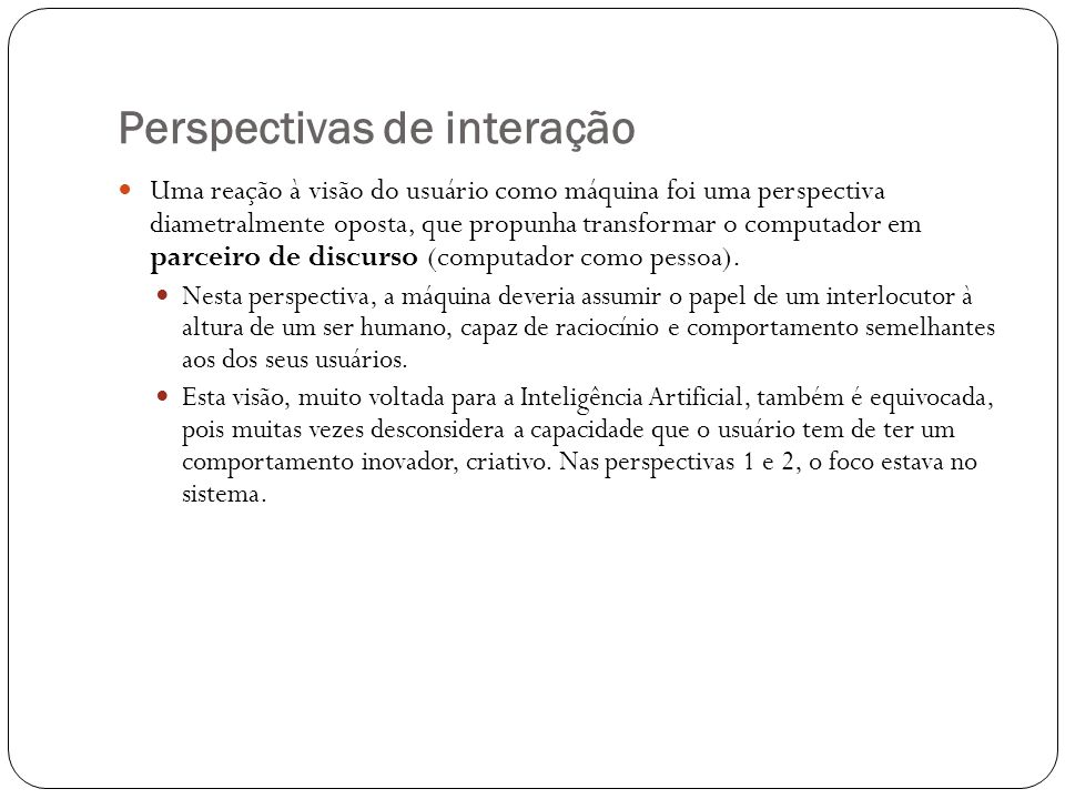 Perspectivas de interação