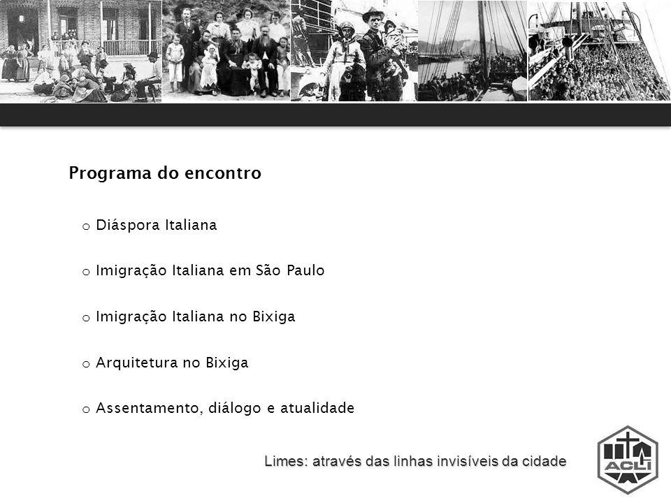Programa do encontro Diáspora Italiana Imigração Italiana em São Paulo
