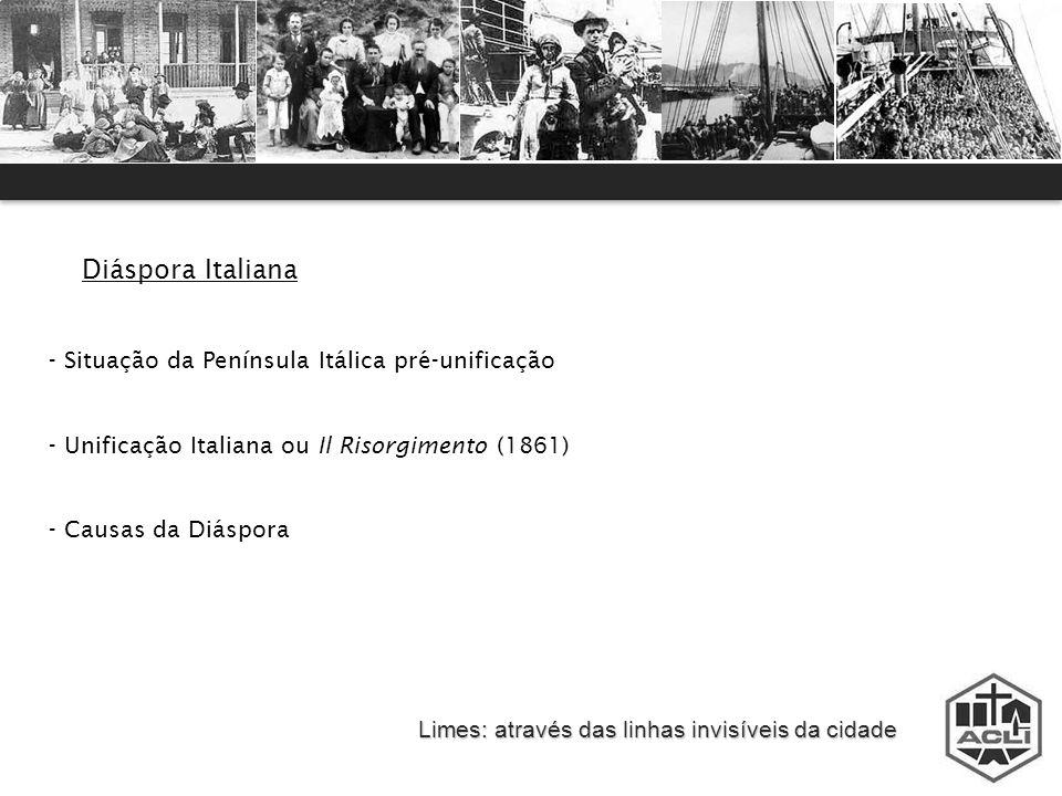 Diáspora Italiana Situação da Península Itálica pré-unificação