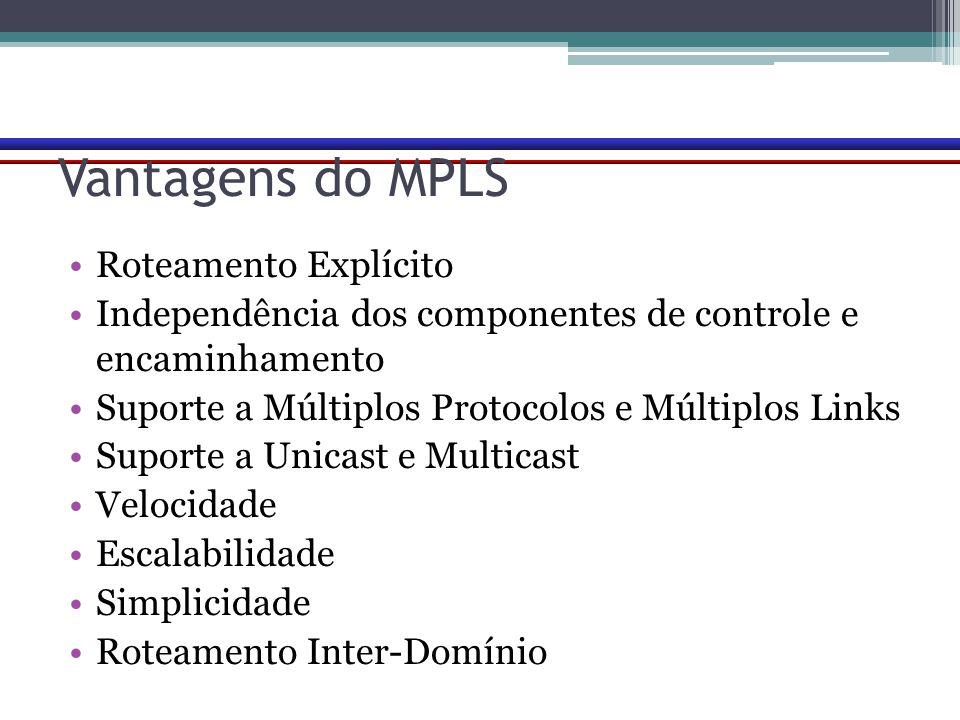 Vantagens do MPLS Roteamento Explícito